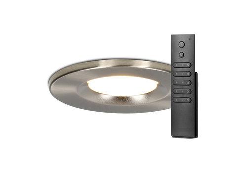 HOFTRONIC™ Set van 8 stuks dimbare LED inbouwspots RVS Venezia 6 Watt 2700K IP65 incl. afstandsbediening