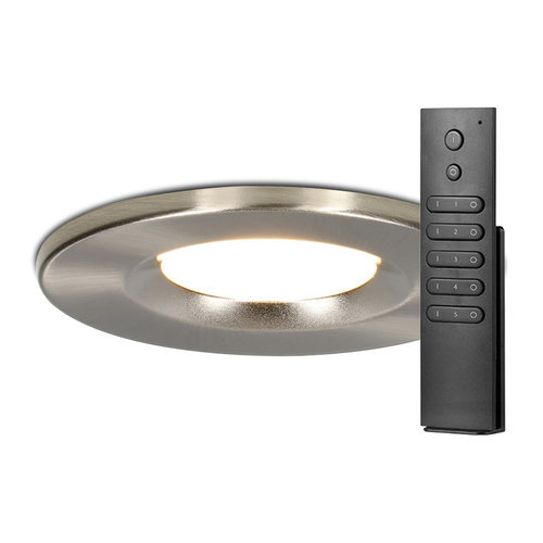 HOFTRONIC™ Set of 6 dimmable LED downlights stainless steel Venezia 6 Watt 2700K IP65 incl. remote control