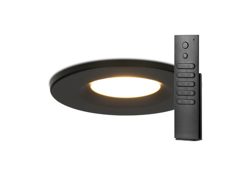 HOFTRONIC™ Set of 14 dimmable LED downlights black Venezia 6 Watt 2700K IP65  incl. remote control