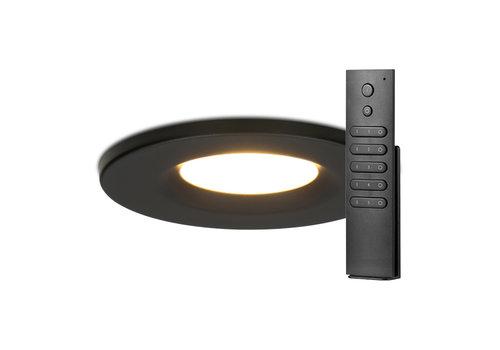 HOFTRONIC™ Set van 12 stuks dimbare LED inbouwspots zwart Venezia 6 Watt 2700K IP65 incl. afstandsbediening