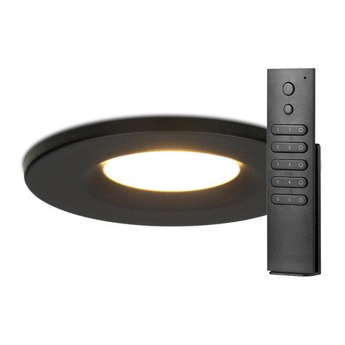 HOFTRONIC™ Set van 8 stuks dimbare LED inbouwspots zwart Venezia 6 Watt 2700K IP65 incl. afstandsbediening
