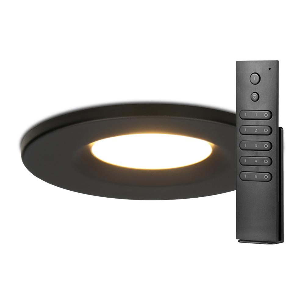 Set van 6 stuks dimbare LED inbouwspots zwart Venezia 6 Watt 2700K IP65 incl. afstandsbediening