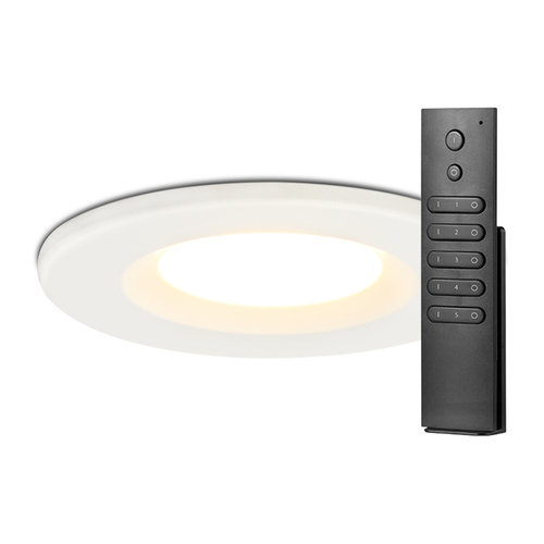 HOFTRONIC™ Set of 6 Dimmable LED downlights white Venezia 6 Watt 2700K IP65 incl. remote control