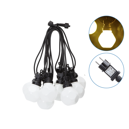Aigostar LED String Light - 10 Milky LEDs - 8m - 3000K Warm white - IP44 Suitable for outdoor use