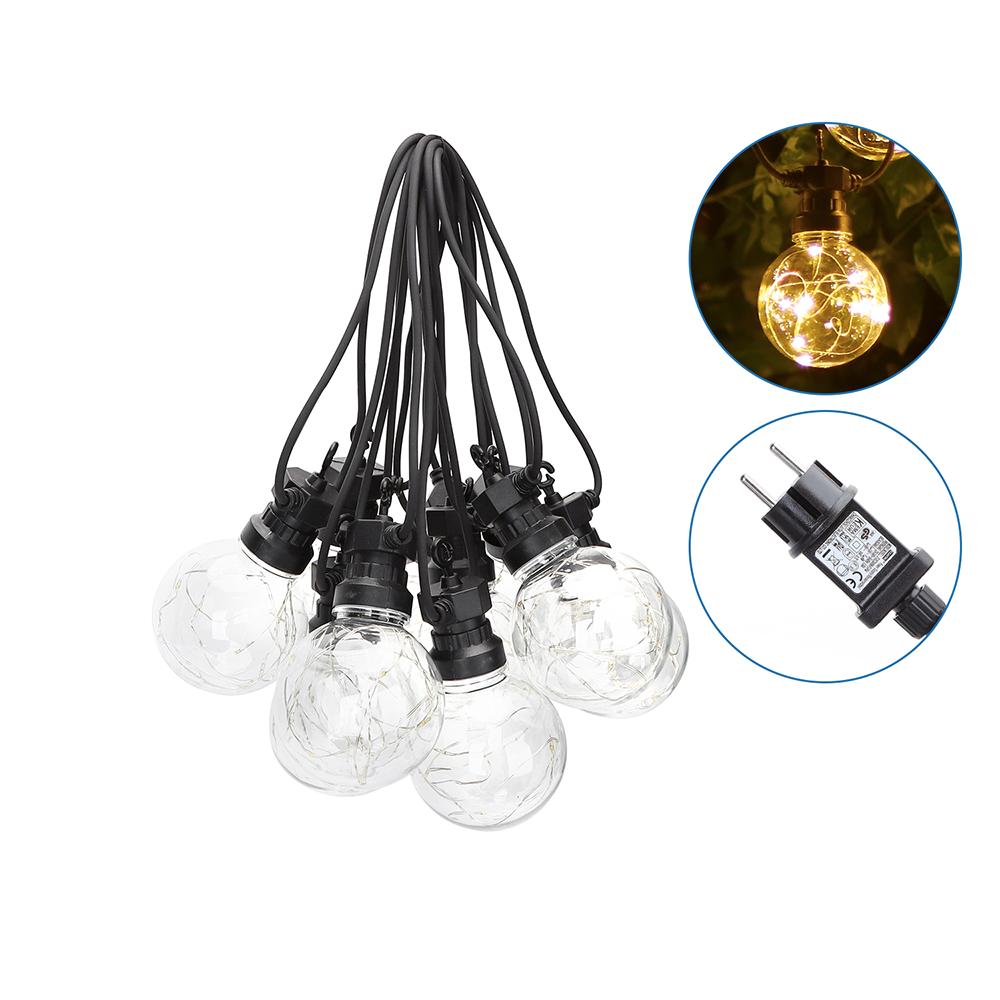 8m LED Prikkabel - String Light - 10 Transparante LEDs - 3000K Warm wit - IP44 Lichtsnoer buiten