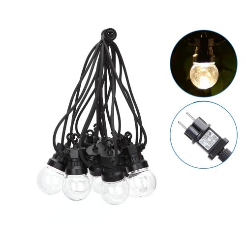 LED String Light - 10 transparent LEDs - 8m - 3000K Warm white - IP44 Suitable for outdoor use
