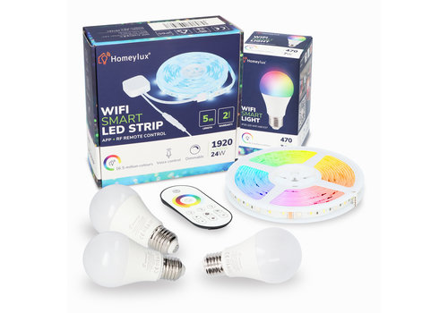 Homeylux RGBWW Smart starterspakket 3 stuks 7 Watt E27 lampen + 1x Smart LED Strip 5m