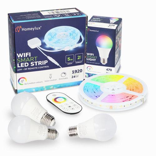 Homeylux Homeylux RGBWW Smart starterspakket 3 stuks 7 Watt E27 lampen + 1x Smart LED Strip 5m