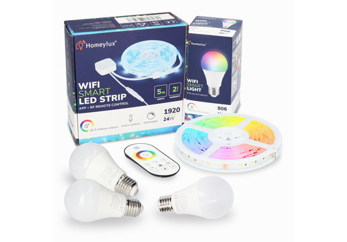 Homeylux Homeylux RGBWW Smart starter kit 3 pieces 10 Watt E27 bulbs +1x Smart LED Strip 5m