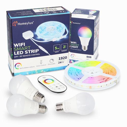 Homeylux RGBWW Smart starterspakket 3 stuks 10 Watt E27 lampen + 1x Smart LED Strip 5m