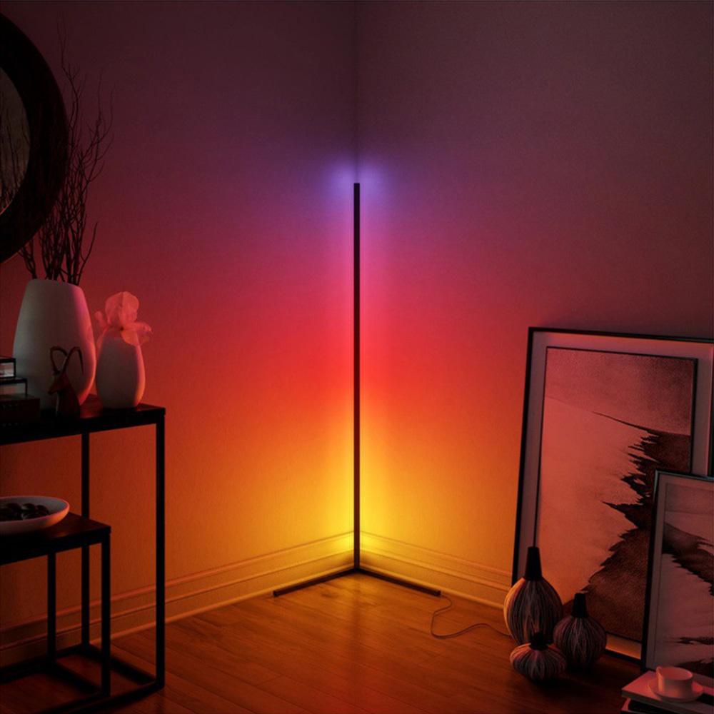 Moderne LED Vloerlamp Aurora Zwart RGB