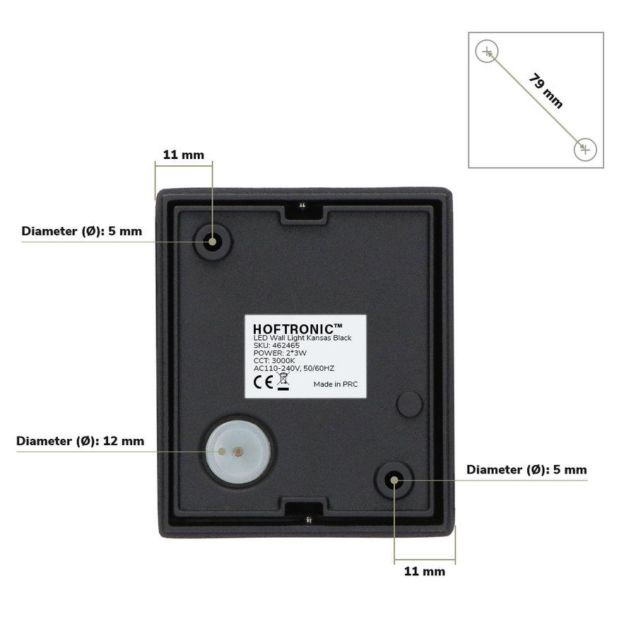 Dimbare LED Wandlamp Kansas zwart 6 Watt 3000K tweezijdig oplichtend IP54