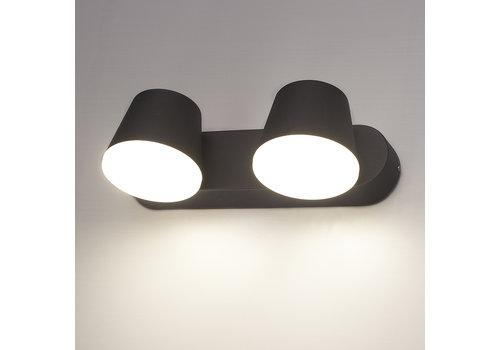 HOFTRONIC™ LED wall light Memphis double black 12 Watt 3000K tiltable IP54