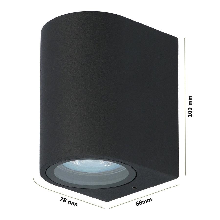 Dimbare LED wandlamp Alvin Zwart IP44 incl. 5 Watt 2700K GU10 spot