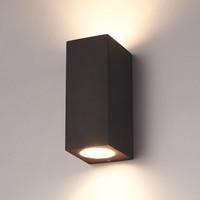 Dimbare LED wandlamp Selma Zwart IP44 tweezijdig oplichtend incl. 2x5 Watt 2700K GU10 spots