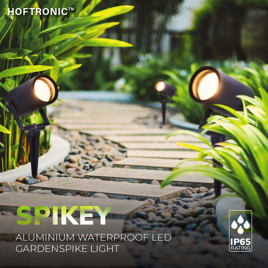 3x Spikey LED Prikspot 5 Watt 400lm 2700K zwart IP65 waterdicht