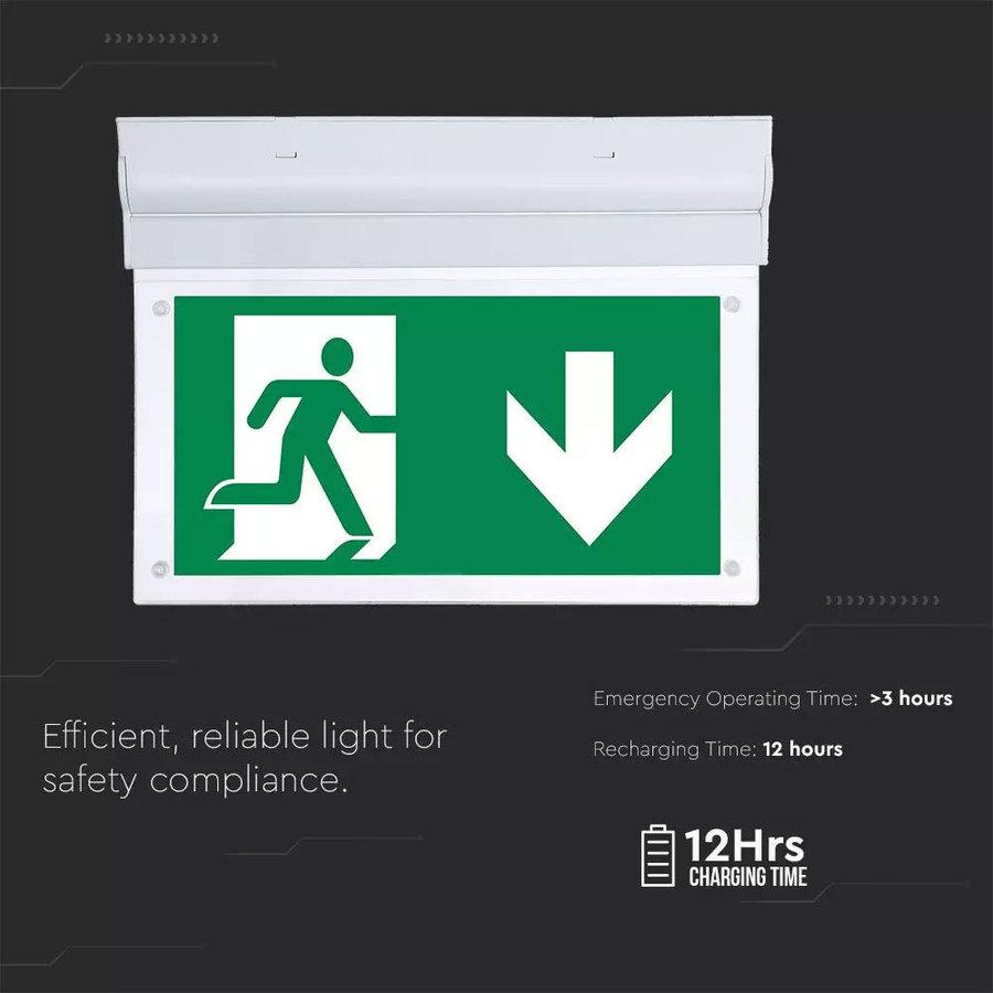 LED Noodverlichting met accu opbouwarmatuur 2 Watt 6000K Samsung Incl. pictogram met vluchtwegaanduiding