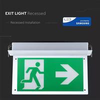 LED Noodverlichting met accu inbouwarmatuur 2 Watt 6000K Samsung Incl. pictogram met vluchtwegaanduiding
