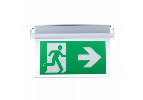 V-TAC LED Emergency light recessed luminaire 2 Watt 6000K Samsung Incl. pictogram with escape route display