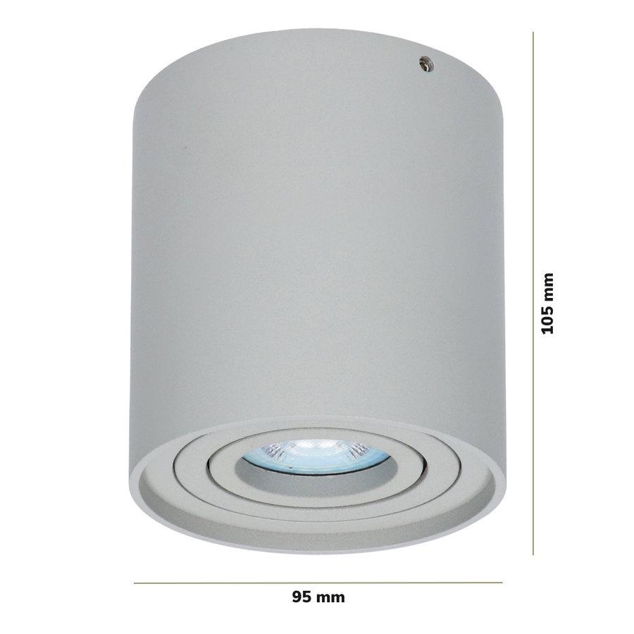 Dimbare LED Opbouwspot plafond Ray Grijs incl. GU10 spot 5W 2700K IP20 kantelbaar Rond