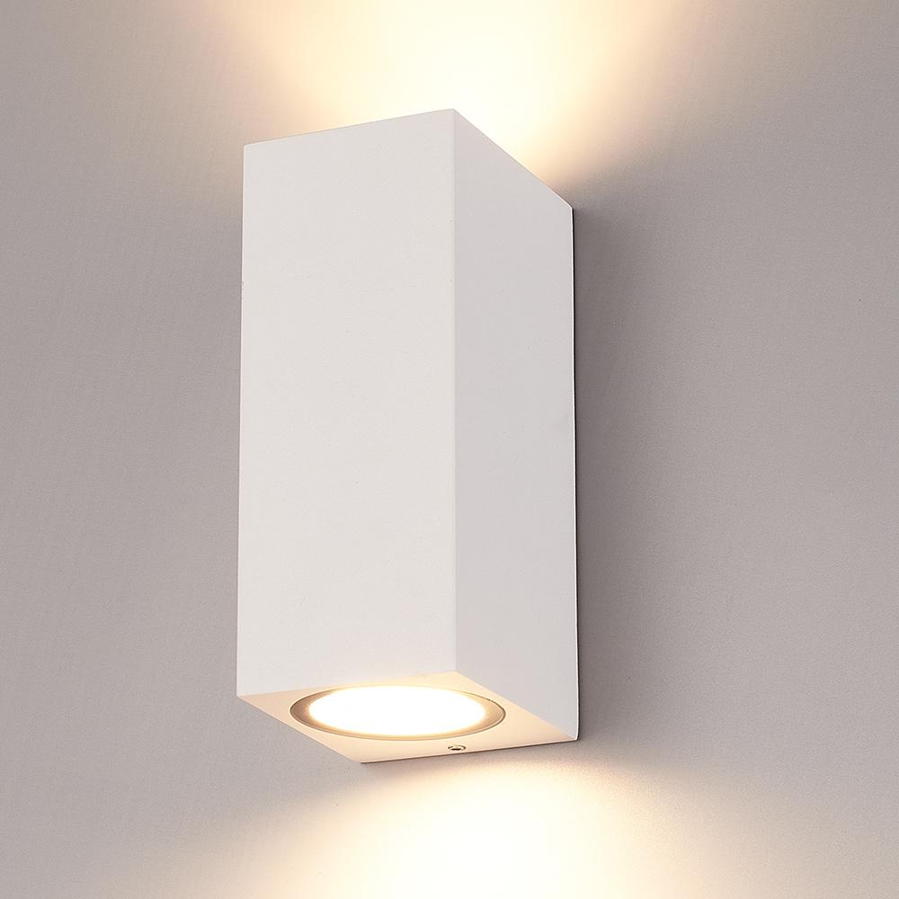 Dimbare LED wandlamp Selma Wit IP65 Up & Down light incl. 2x5 Watt 2700K GU10 spots