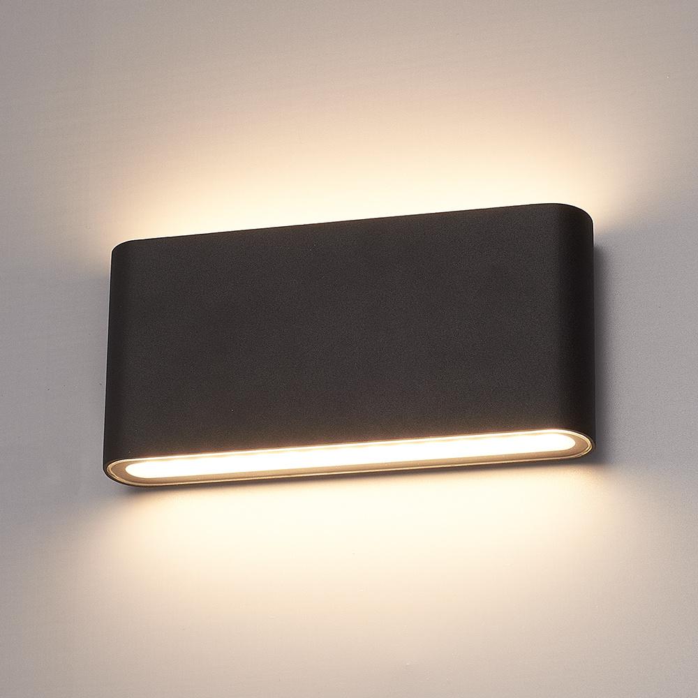 Dimbare LED Wandlamp Dallas M zwart 12 Watt 3000K Up & Down light IP54 spatwaterbestendig 3 jaar gar