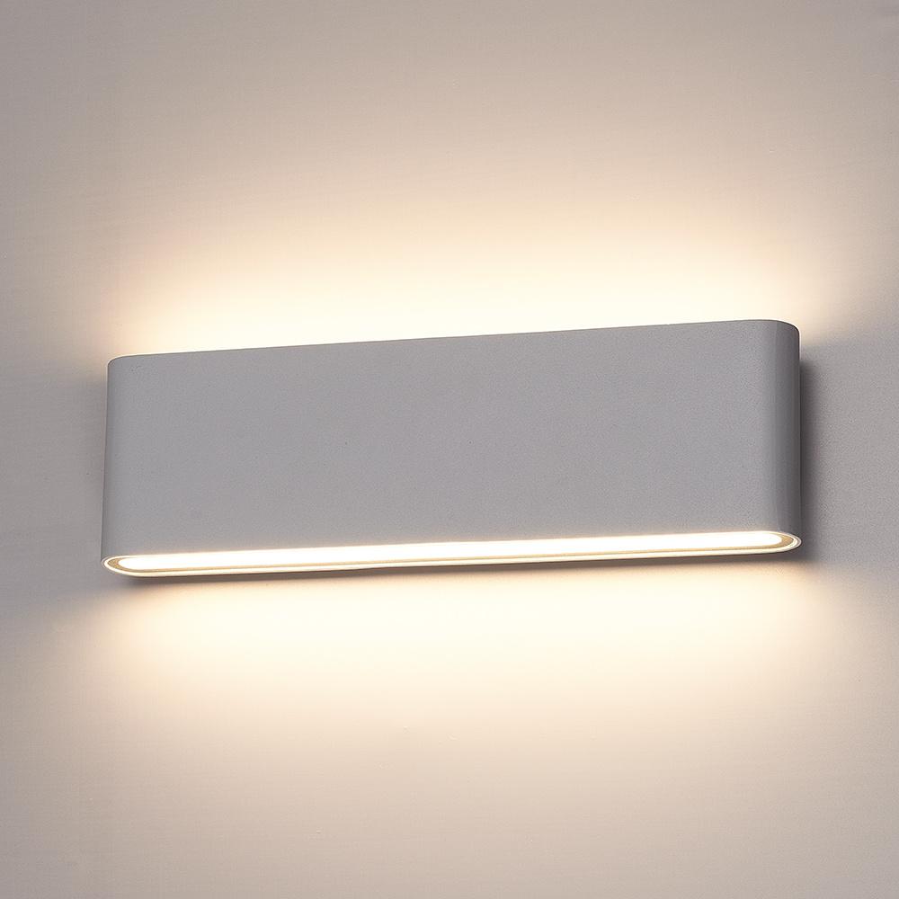 Dimbare LED Wandlamp Dallas XL grijs 24 Watt 3000K Up & Down light IP54 spatwaterbestendig 3 jaar ga