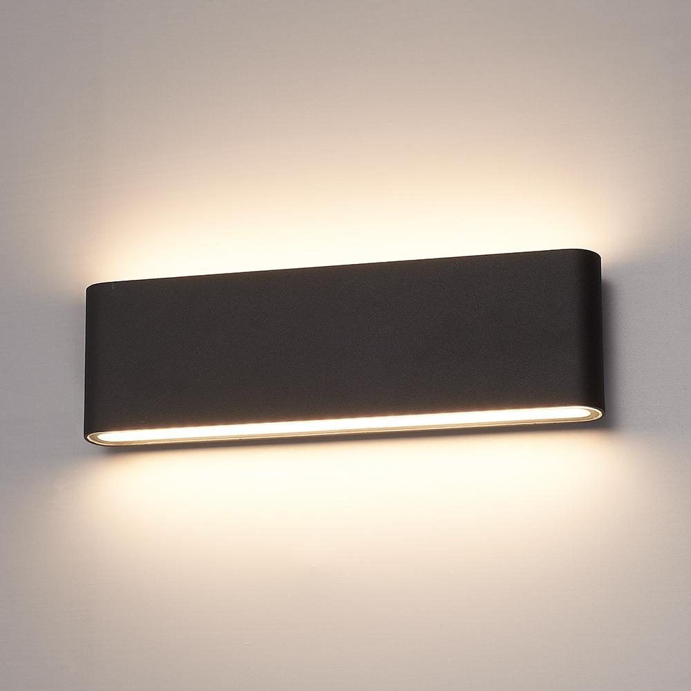 Dimbare LED Wandlamp Dallas XL zwart 24 Watt 3000K Up & Down light IP54 spatwaterbestendig 3 jaar ga