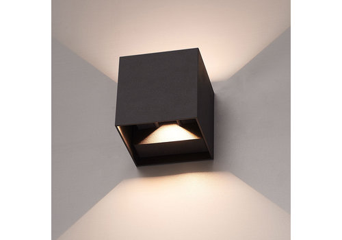 LED wandlamp 6 Watt tweezijdig oplichtend IP65 zwarte Cube