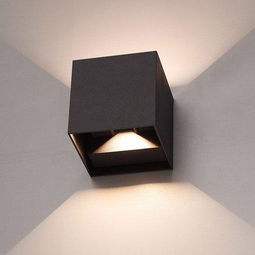 LED Wandleuchte 6 Watt Beidseitig leuchtend IP65 Schwarzer Cube
