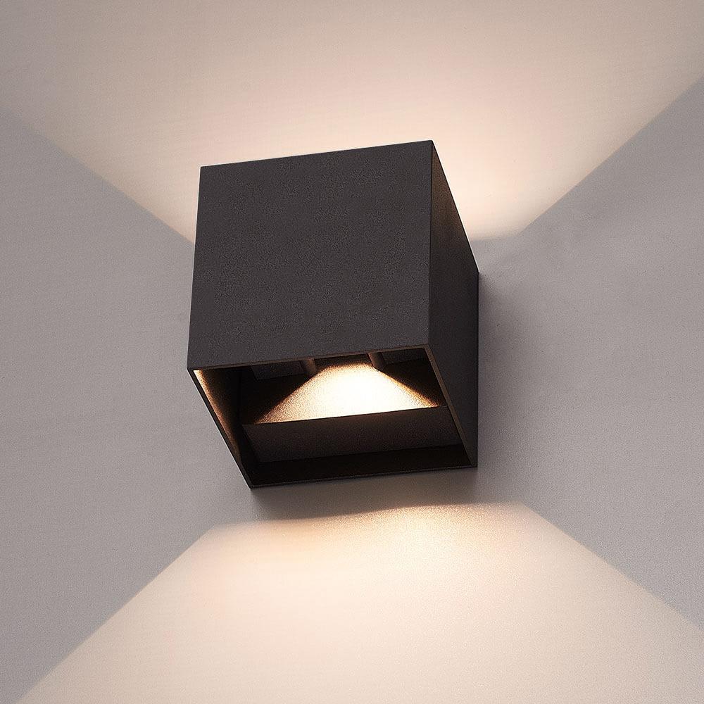 LED wandlamp 6 Watt 3000K Up & Down light IP65 zwarte Cube