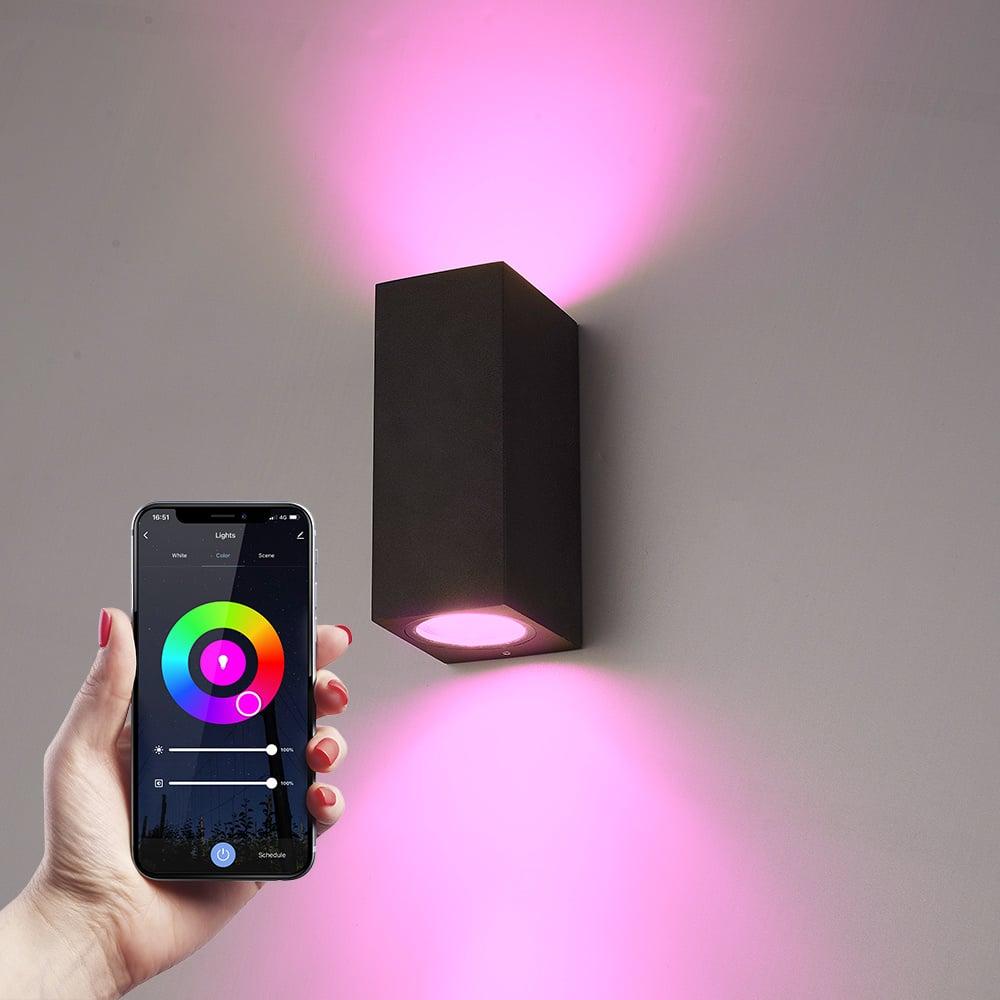 Smart WiFi LED wandlamp Selma zwart RGBWW GU10 IP65 Up & Down light