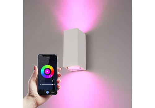 Homeylux Smart WiFi LED wall light Selma white RGBWW GU10 IP44 double-sided illuminating