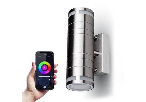 HOFTRONIC™ Smart WiFi LED Wandlamp RVS rond RGBWW GU10 IP44 tweezijdig oplichtende  buitenlamp
