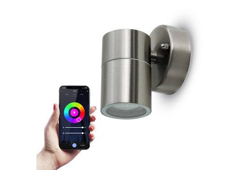 HOFTRONIC™ Smart WiFi LED Wandlamp RVS rond RGBWW GU10 IP44