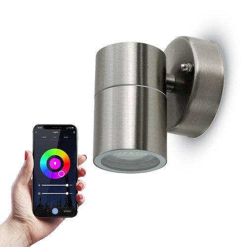 HOFTRONIC™ Smart WiFi LED wall light RVS round RGBWW GU10 IP44