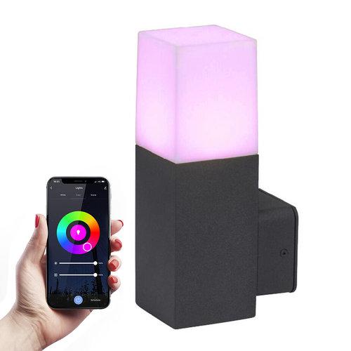 HOFTRONIC™ Smart WiFi LED Wandlamp Zwart vierkant Aluminium IP54