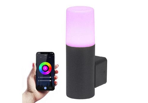 HOFTRONIC™ Smart WiFi LED wall light Black round aluminum IP54