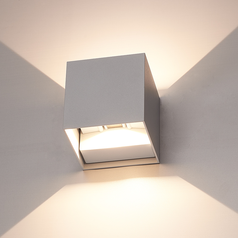 LED wandlamp 6 Watt 3000K Up & Down light IP65 grijze Cube