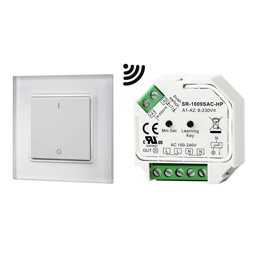 1-kanaals draadloze LED muur opbouw dimmer inclusief ontvanger maximaal 400 Watt