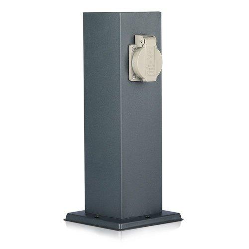 V-TAC Outdoor socket pole dark grey IP44 - 2 sockets