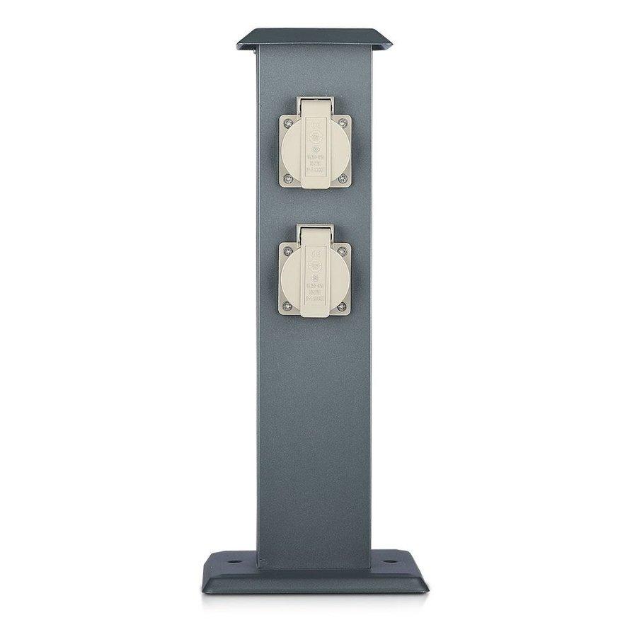 Buitenstopcontact paal donker grijs IP44 - 4 stopcontacten