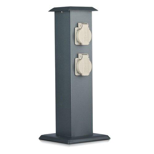 V-TAC Outdoor socket pole dark grey IP44 - 4 sockets