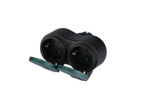 V-TAC Buitenstopcontact zwart IP44 - 2 stopcontacten