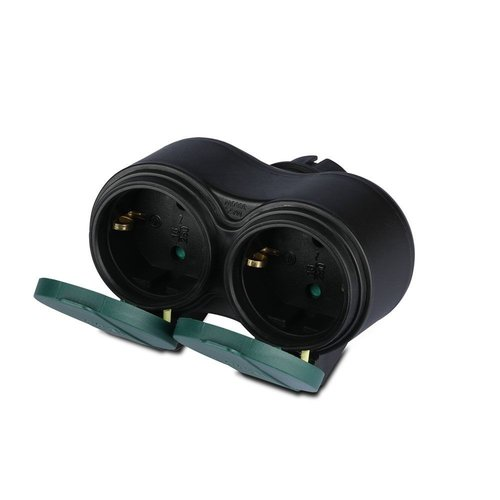 V-TAC Outdoor socket black IP44 - 2 sockets