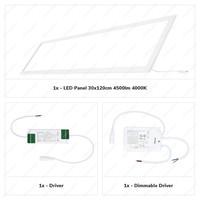 Dimbaar LED Paneel 30x120 cm 36 Watt 4500lm (125lm/W) High Lumen 4000K Flikkervrij 5 jaar garantie EIA Subsidie geschikt