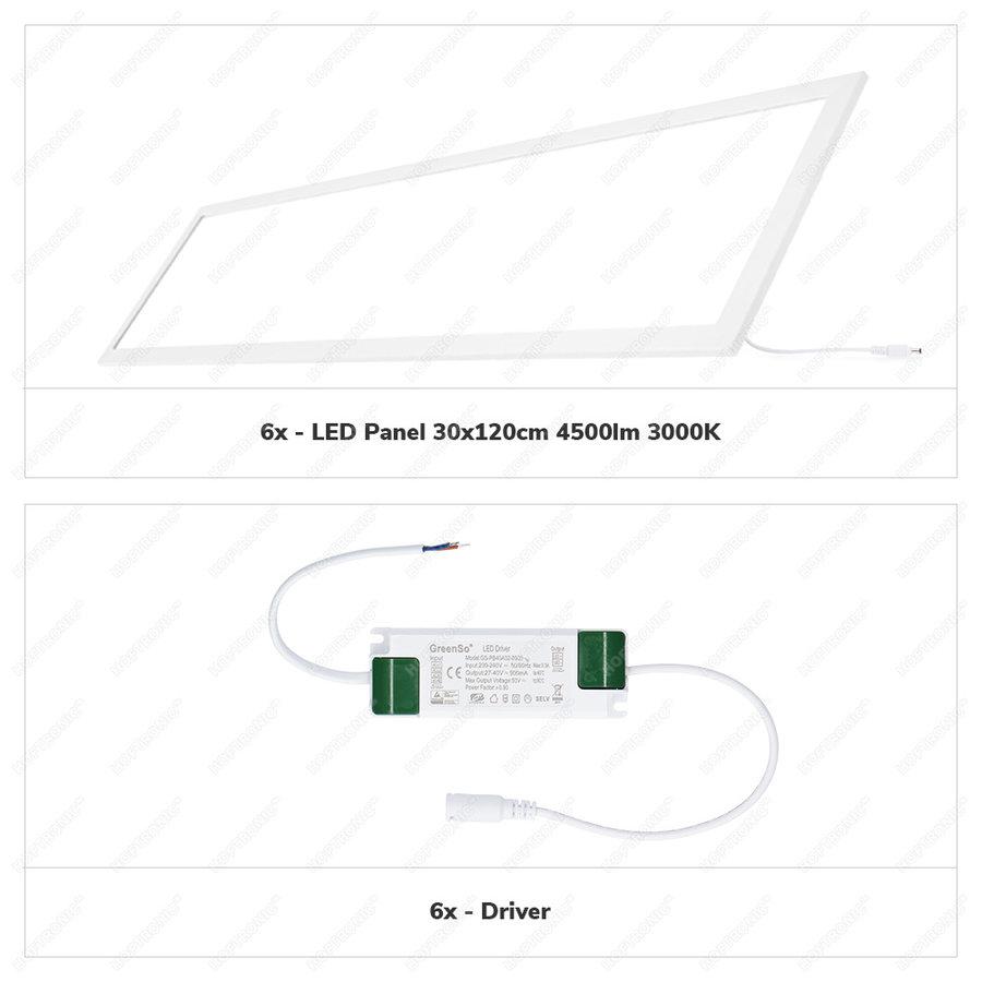 6x LED Paneel 30x120 cm 36 Watt 4500lm (125lm/W) High Lumen 3000K Flikkervrij 5 jaar garantie EIA Subsidie geschikt