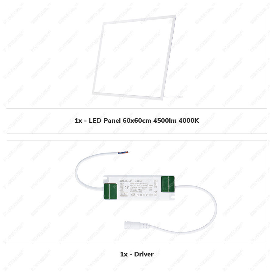 LED Paneel 60x60 cm 36 Watt 4500lm (125lm/W) High Lumen 4000K UGR<19 Flikkervrij 5 jaar garantie EIA Subsidie geschikt