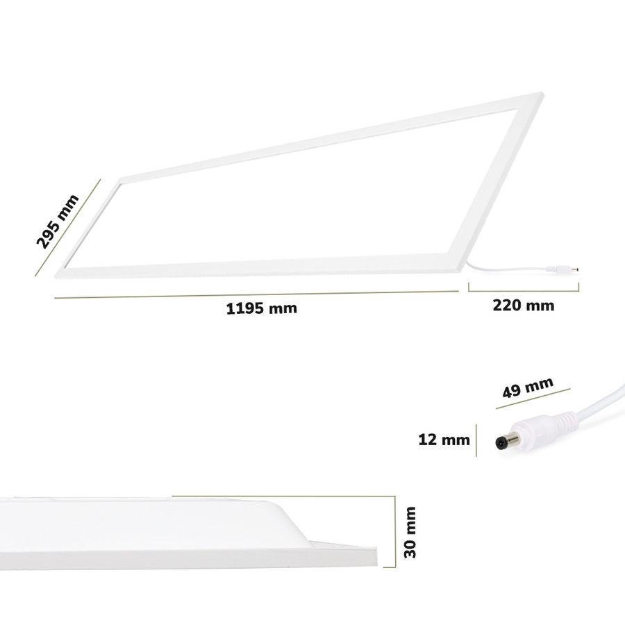 LED Paneel 30x120 cm 36 Watt 4500lm (125lm/W) High Lumen 6000K Flikkervrij 5 jaar garantie EIA Subsidie geschikt