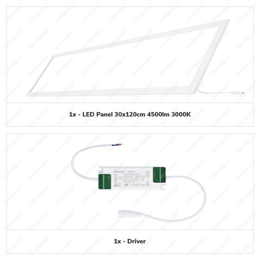 LED Paneel 30x120 cm 36 Watt 4500lm (125lm/W) High Lumen 3000K Flikkervrij 5 jaar garantie EIA Subsidie geschikt